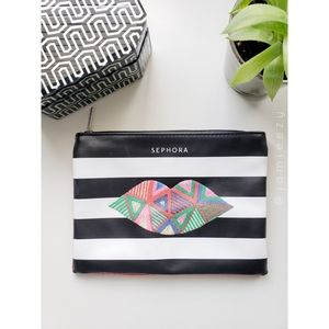 Sephora | Stripes + Graphic Lips Cosmetic Bag